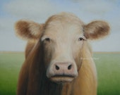 Sale!  COW PAINTING 12 x 12 Original OIL Cow Art Farm Animal art blue green Western decor wall animal art country Christmas Present