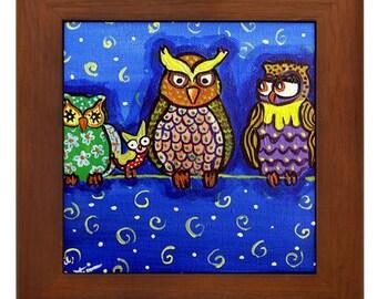 Owls Birds Fun  Colorful Whimsical Folk Art Framed Ceramic Tile