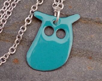 Enamel Owl Pendant, Necklace, Copper, Enameled Jewelry - Turquoise