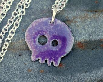 Skull Pendant Copper Enamel Necklace Baby Violet
