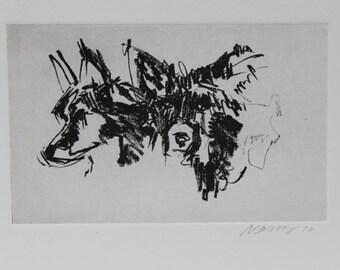 Border Collie Sketchbook Dog Portrait - Original etching by Nicole Strasburg