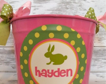 custom personalized 10 QUART name bucket in green, pink & yellow