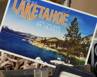 Vintage Postcard Save the Date (Lake Tahoe) - Design Fee