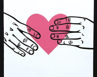 Hands Holding Heart Print