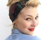 Black Splatter Vintage Style 1950s Head Scarf / Hair tie