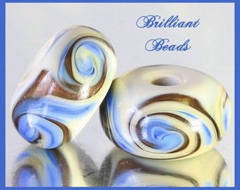 French Blue, Sparkly Copper & Ivory Swirled Glass Beads - Handmade Lampwork Pair SRA, Made To Order