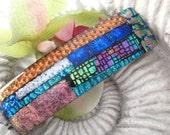 Large Rainbow  Barrette - Hair Barrette - French Barrette - Mosaic Style - Fused Glass Barrette -  Fused Glass Hair Clip 022713b100