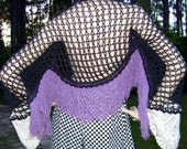 Crochet Shrug Lace Sleeves Black Purple Fringe Cotton Halloween Wrap Hippie Festival