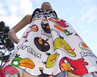 Angry Birds Sundress Geek Chic Cartoon Movie Gamer Dress Green Red Black White Mom Party Adult Size M L XL Maternity Too