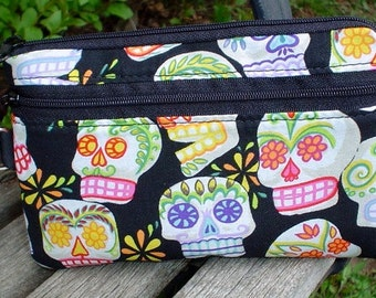 Sugar Skull mini wallet, purse organizer, wristlet, Day of the Dead,  Sweet Pea