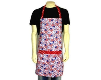 American Flag Apron and State Names , Red White and Blue , Patriotic Kitchen Decor / July 4th