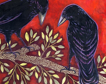 Two Ravens - 6x6 Archival Print on Wood