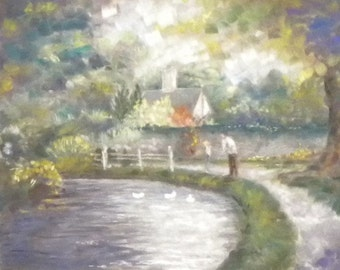 Art Giclee Pastel Painting River Eye in Cotswolds UK Martha Horman