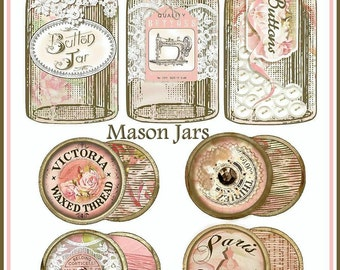 INSTANT DOWNLOAD Vintage Sewing Mason Jar & Thread Spool Diecuts for Cards, Tags, Scrapbooking, Crafts Digital Printables