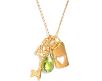 SALE! Charm Necklace, Key, Heart Keyhole, Gemstone Dangle, Goldplated, Mothers Day Gifts