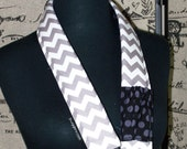 PreOrder camera strap padded gray and white chevron with black gray ta dots reverse-- with lens cap pocket-Snugglens