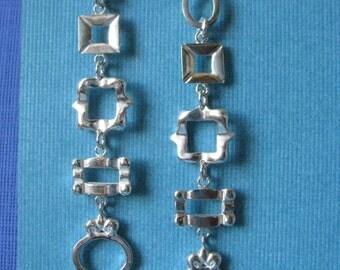 Long Dangle Statement Earrings Sterling Silver Five Tiny Frames
