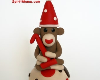 Smash Cake Sock Monkey Birthday Cake Topper w Number 3 inches Tall Boy or Girl