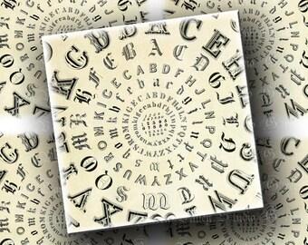 INSTANT DOWNLOAD Digital Images Sheet Vintage Antique Spiral Alphabet Blurry Edges 3.7 x 3.7 Inch Squares for Coasters Cards Crafts (CT15)