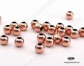 100 pcs 2mm Rose Gold Filled Beads Round Spacer Beads (Seam) B39RGF