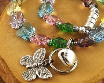 Spring Butterfly Luxe Swarovski Crystal multicolor kitty cat beaded collar with breakaway magnetic clasp