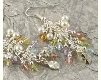 Innocence Bijoux Collection multicolor vintage feel pastel silver finish Swarovski Crystal cascade french hook earrings
