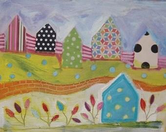 Orange Brick Wall.....Original painting by Michelle Daisley Moffitt