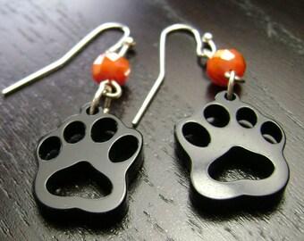 Paw Print Dangle Earrings in Orange and Black