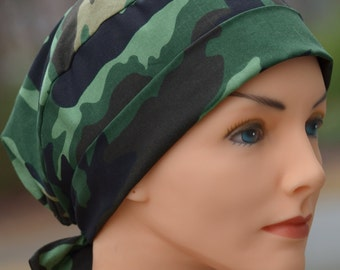 Scrub Hats for Women - The Mini with Fabric Ties - Camouflage