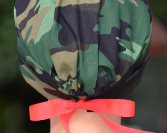 Scrub Hat or Chemo Cap with RIBBON TIES- The Mini- Camouflage