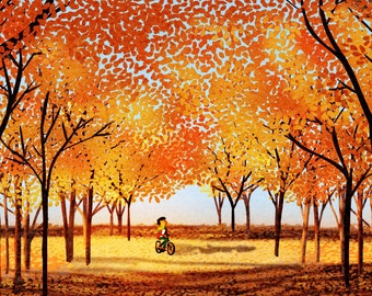 "Bike Art, Orange Art, Wall Decor, Tree Art, Art Print - ""Season of Love"""