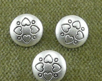 2658 Silver tone Domed Heart Embossed Buttons B7
