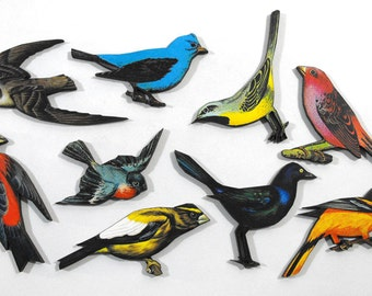 Laser Cut Wood Birds - Collection of 9 Vintage Bird Cuts