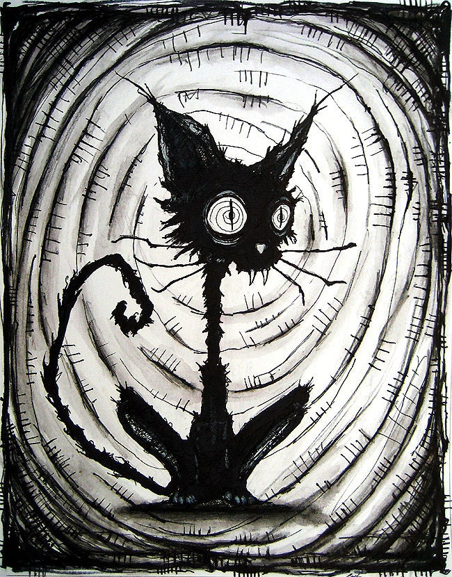 Black Cat 3 Original Drawing Dark Art Horror Decay Monster