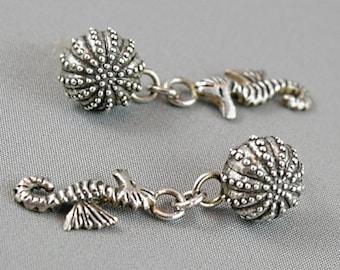 Seahorse earrings. Stud earrings with sea urchin. Organic jewelry. Sterling silver