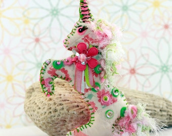 Custom Made-to-order - Fantasy Mystical Magical Unicorn Quilty Critter - YOU CHOOSE colors and design - hand beaded, ornament