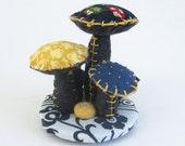 Fabric Mushroom Topiary / Home Decor / Handmade Floral Arrangement / Decorative Arts / Fabric Flowers / Mushrooms
