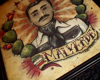 Malverde Mexican Folk Saint in Traditional Tattoo Style Art Print 8x10 By Agorables Old School Robin Hood Jesús