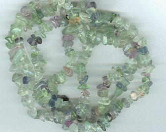 Green and Purple Fluorite Chip Beads - Small size