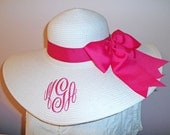Monogrammed and Personalized Floppy Wide Brimmed Sun Hat Wedding, Bridesmaid, Bridal Shower, Beach, Tailgating, Sorority, College