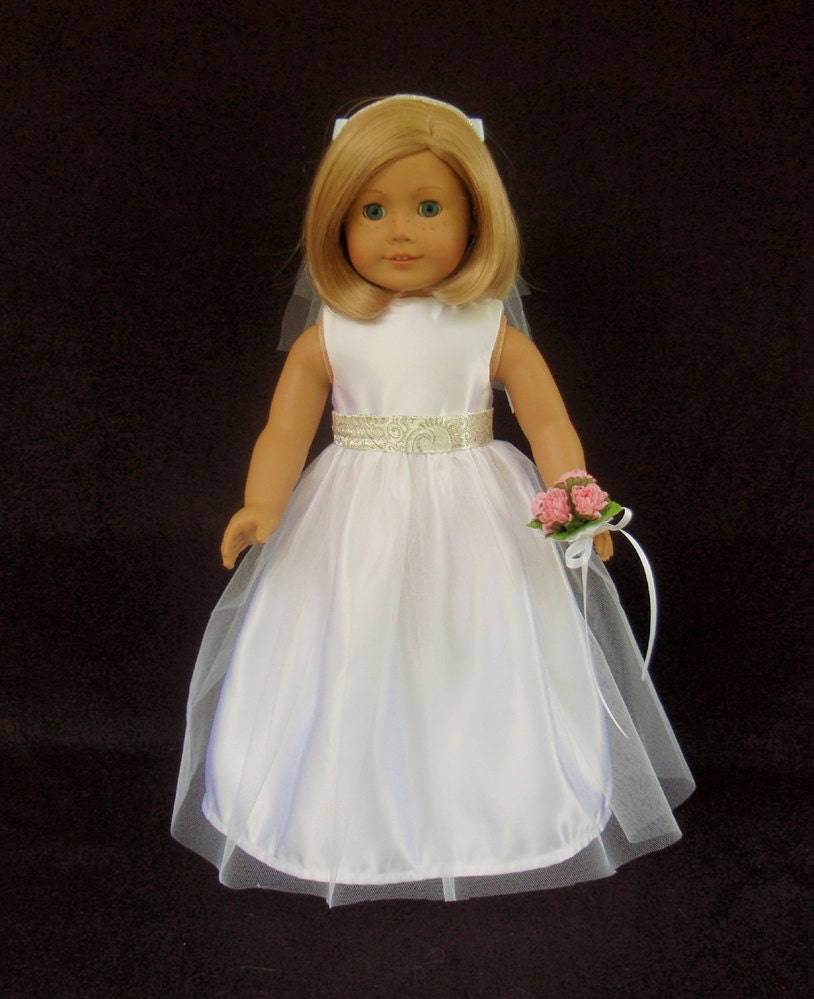 American girl doll clothes satin and tulle wedding gown dress for American girl wedding dress