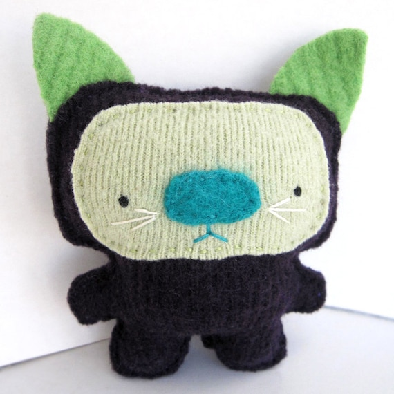 Eggplant Purple Cat - Recycled Wool Plush Toy