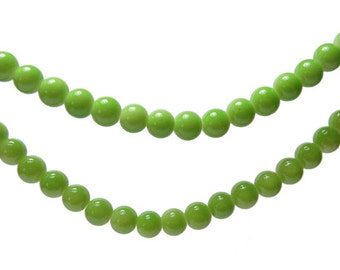 Glass Bead CLOSEOUT SALE (GB114) 6mm Bright Green Round 16 inch Strand about 74 Beads Druk Glass Opaque Beads for Jewelry and Crafts