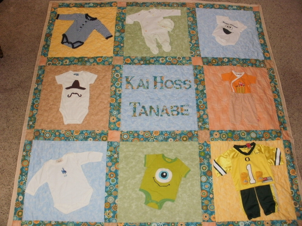 Baby clothes quilt for Brian
