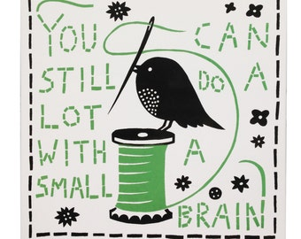 Small Brain Ceramic Tile (Black/Green)