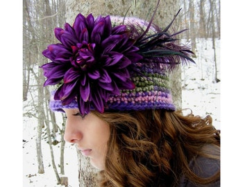 Crochet Hat Pattern Flapper Preemie Baby to Adult Large Vintage Inspired Purple Flower Feather Tutorial PDF No.19