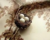 Secret Garden Victorian Wire Wrapped Bird Nest Ascot or Stick Pin
