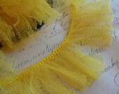 Lemon Yellow Gathered Tutu Tulle Ruffle Fringe 1.5 inches wide