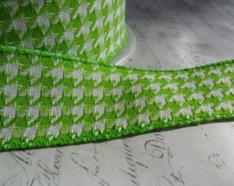 Lime Green and White 1.5 inch Woven Herringbone Ribbon Trim