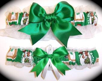 Boston Celtics Wedding Garter Set   Handmade   Keepsake and Toss Bridal ew1